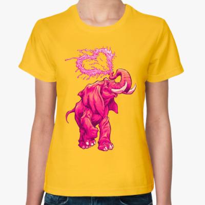 Женская футболка Счастливый слоник
