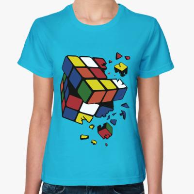 Женская футболка Сломанный кубик Рубика