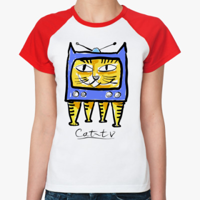 Женская футболка реглан кот-тв