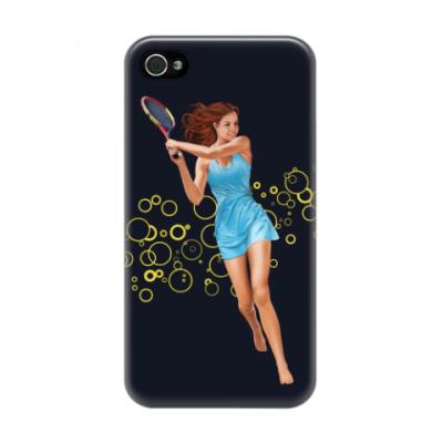 Чехол для iPhone 4/4s Девушка с теннисной ракеткой