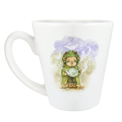 Чашка Латте Зеленый ежик
