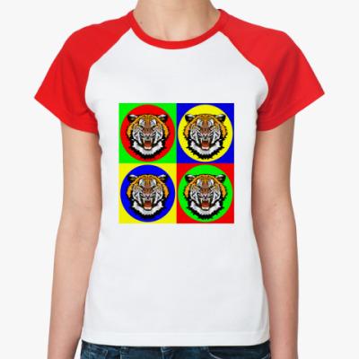 Женская футболка реглан Tiger Pop Art