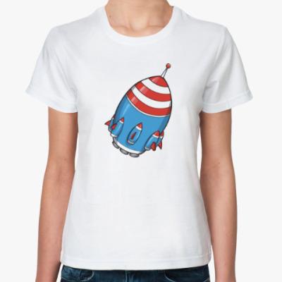 Классическая футболка Космос. Ракета.