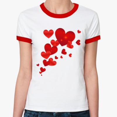 Женская футболка Ringer-T Летящие сердца