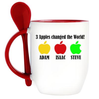 Кружка с ложкой 3 яблока изменили мир