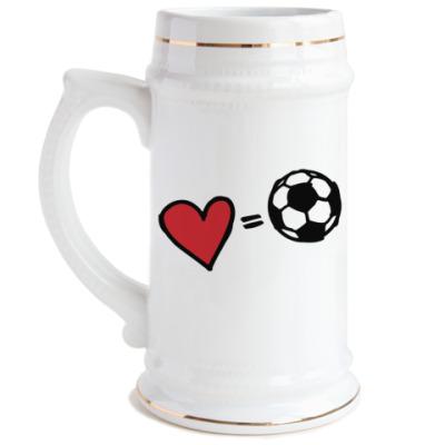 Пивная кружка Love equals football