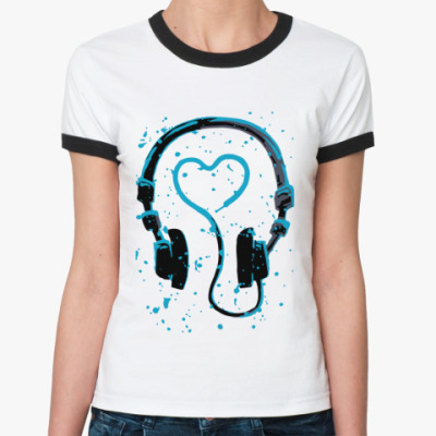 Женская футболка Ringer-T dj's heart