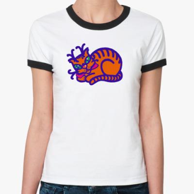 Женская футболка Ringer-T Кот- женская