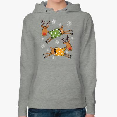 Женская толстовка худи Новогодние олени в свитерах