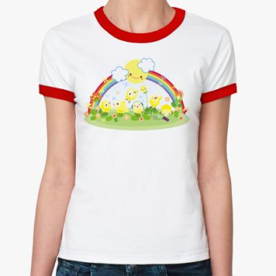 Женская футболка Ringer-T   'Цыплята'