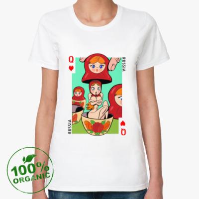 Женская футболка из органик-хлопка Русская матрешка