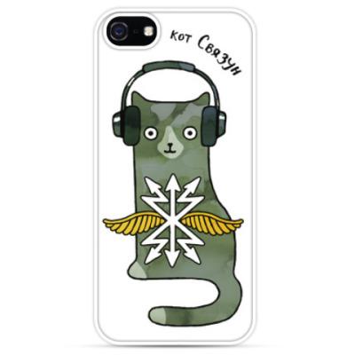 Чехол для iPhone Кот военный связист