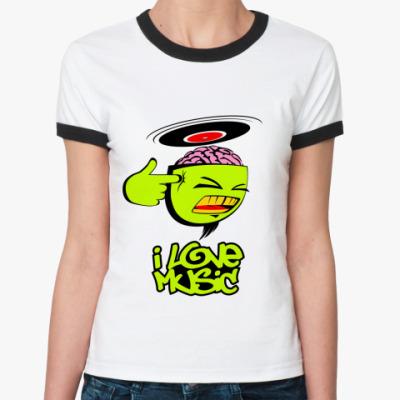 Женская футболка Ringer-T musical brain