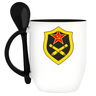 Кружка с ложкой Кружка с эмблемой Ракетных войск и Артиллерии