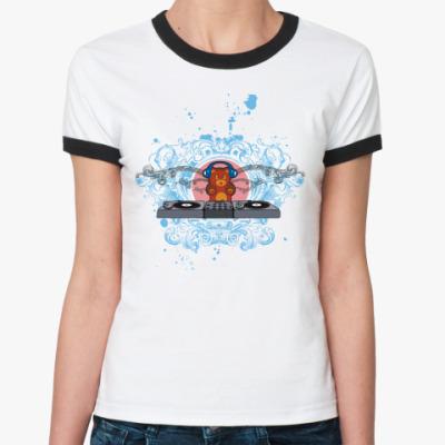 Женская футболка Ringer-T Диджей