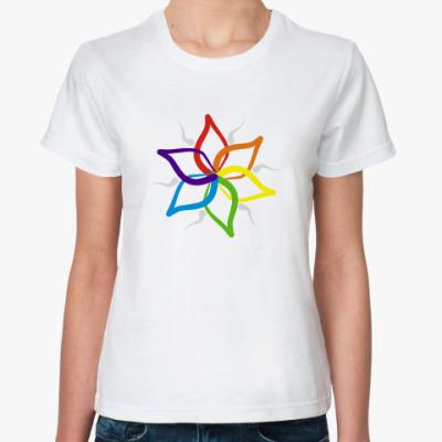 Классическая футболка  'Rainbow flower'