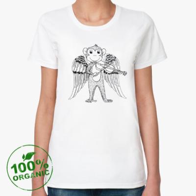 Женская футболка из органик-хлопка Обезьянка ангел музыкант