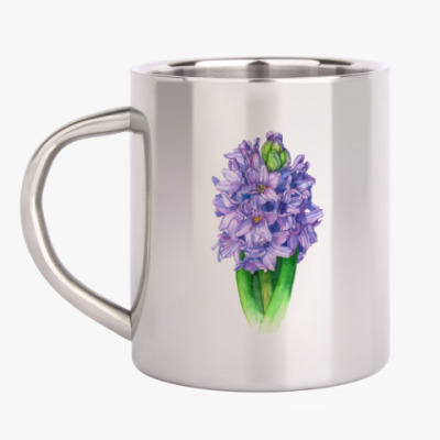 Кружка металлическая Цветок гиацинт акварель