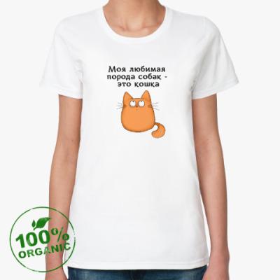 Женская футболка из органик-хлопка Обожатель кошек