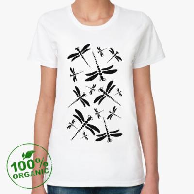 Женская футболка из органик-хлопка Стрекозы