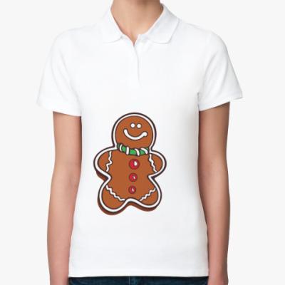 Женская рубашка поло Новогоднее печенье Пряня