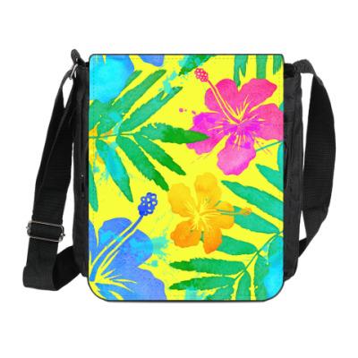 Сумка на плечо (мини-планшет) Тропические цветы