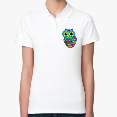 Женская рубашка поло Милая лилово-голубая сова