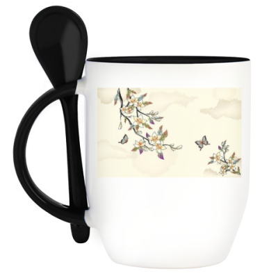 Кружка с ложкой Цветы