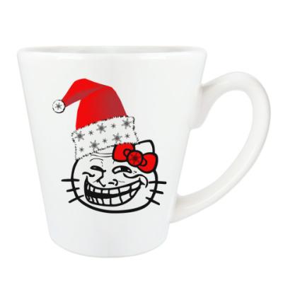 Чашка Латте Trollface: happy new year