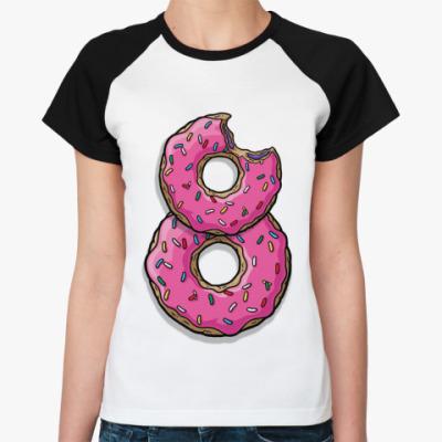 Женская футболка реглан 8   (бел/чёрн)