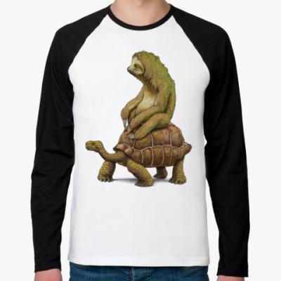 Футболка реглан с длинным рукавом Ленивец на черепахе