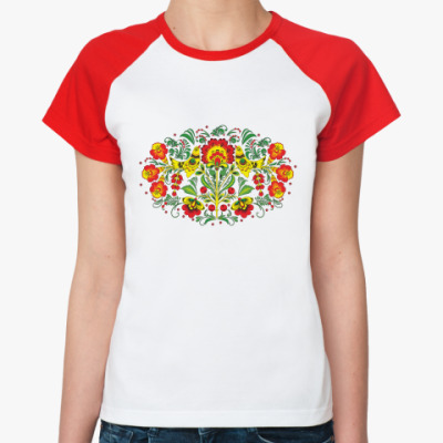 Женская футболка реглан Хохлома