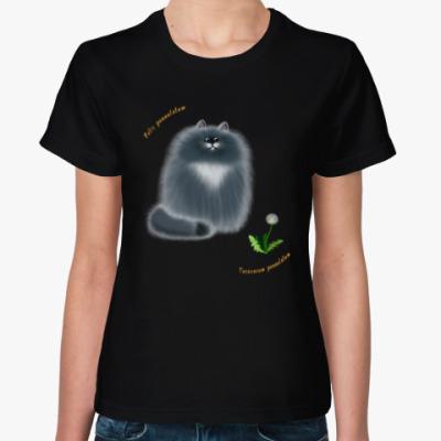 Женская футболка Кот лохматый