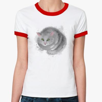 Женская футболка Ringer-T Серый кот, кошка