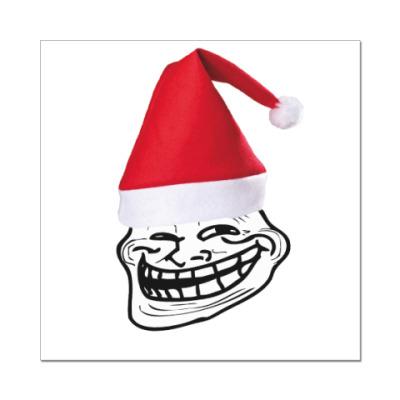Наклейка (стикер)  New Year Trollface