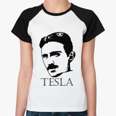 Женская футболка реглан Tesla