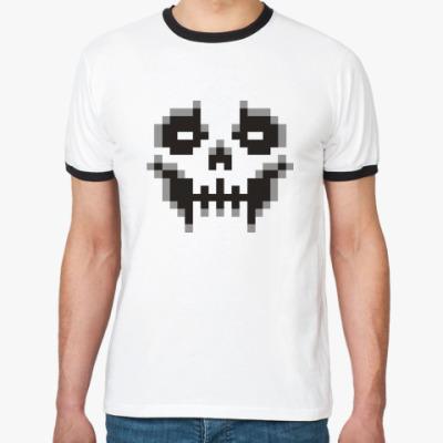 Футболка Ringer-T Пиксельный череп
