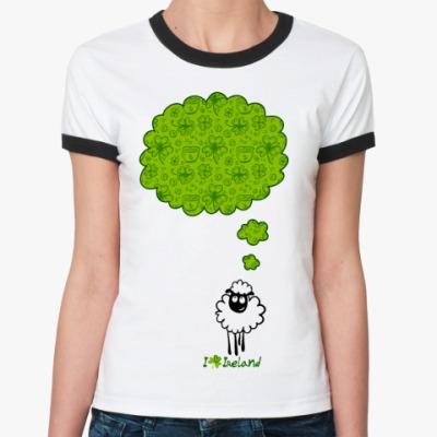 Женская футболка Ringer-T Овечка, мечтающая об Ирландии