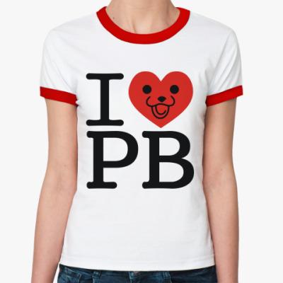 Женская футболка Ringer-T   I love PB