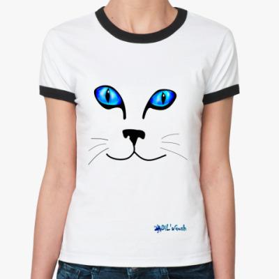 Женская футболка Ringer-T 'Кот'