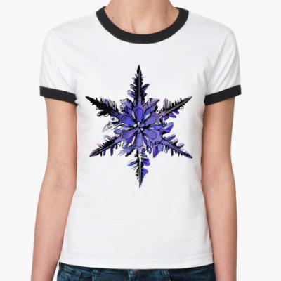 Женская футболка Ringer-T Снежинка