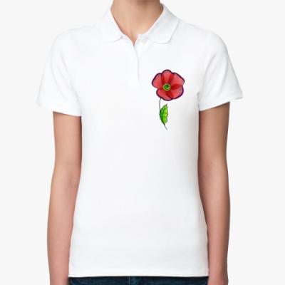 Женская рубашка поло Красный мак