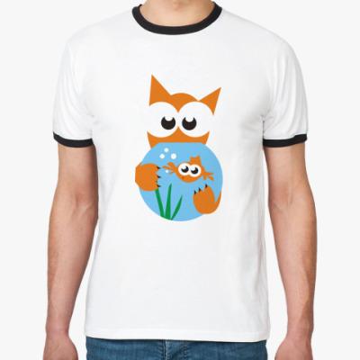 Футболка Ringer-T Кот и рыбка