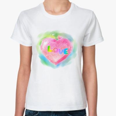 Классическая футболка акварельная 'Love'
