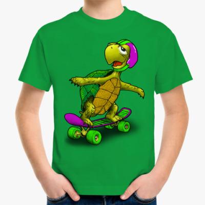 Детская футболка Черепаха на скейте