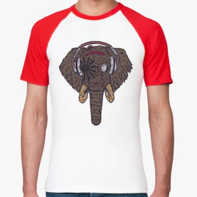 Футболка реглан Слон в наушниках