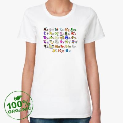 Женская футболка из органик-хлопка Алфавит