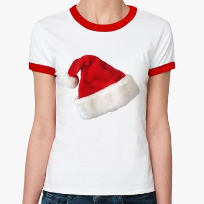 Женская футболка Ringer-T Новогодняя шапка