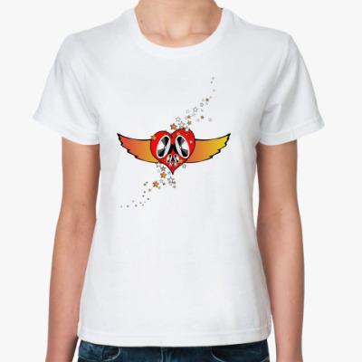 Классическая футболка Сердце на крыльях