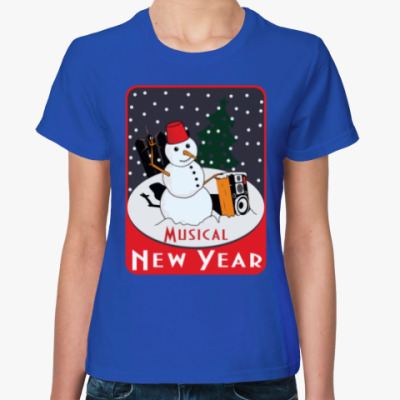 Женская футболка Музыкальный Новый Год